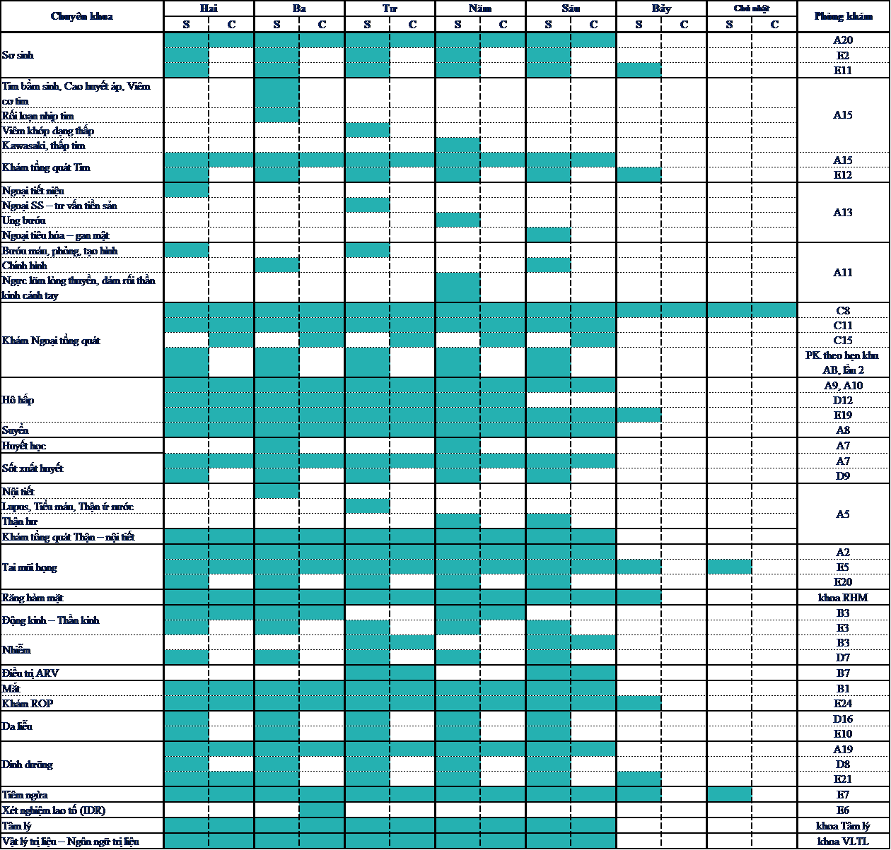 BVND1 - Lịch khám chuyên khoa
