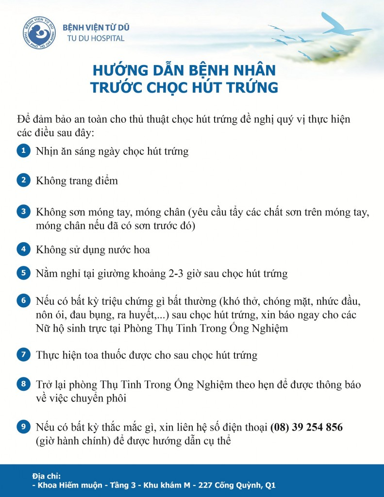 Benh vien Tu Du - Quy trinh khám hiếm muộn - Hướng dẫn bệnh nhân chọc trứng