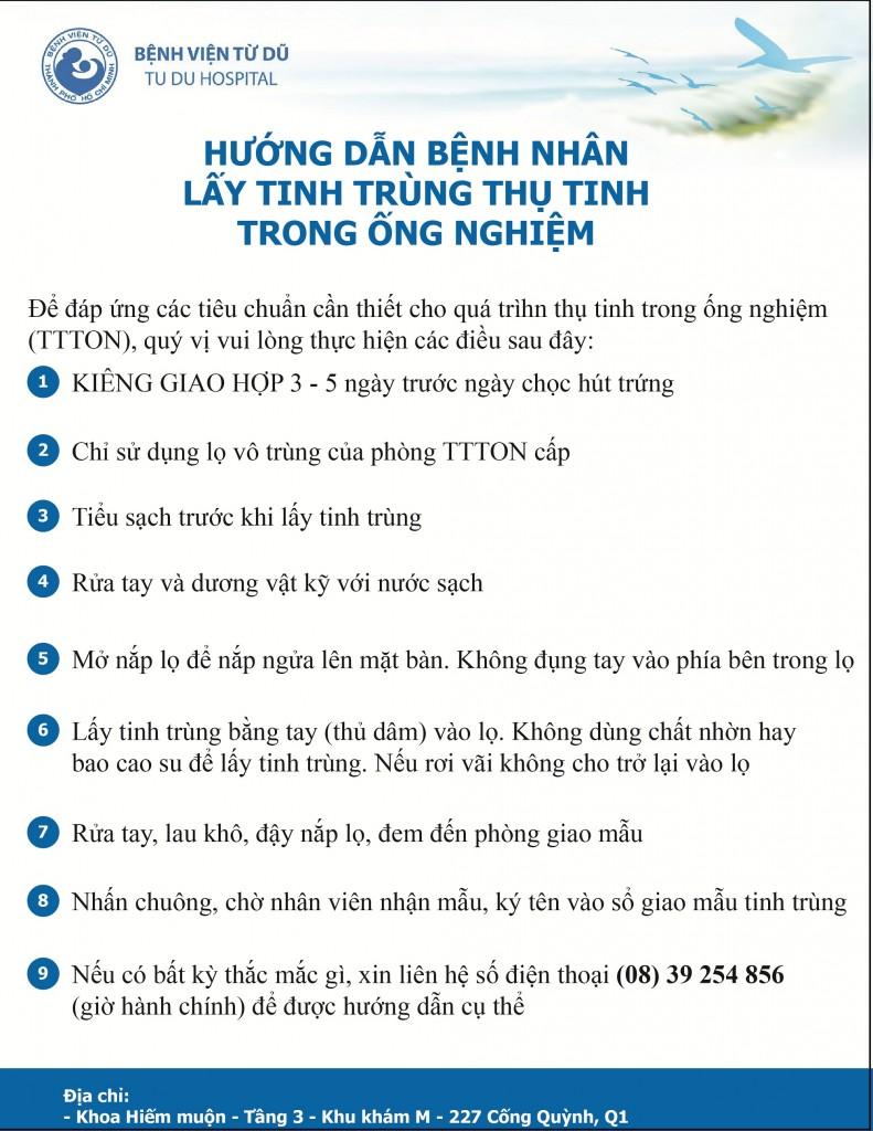 Benh vien Tu Du - Quy trinh khám hiếm muộn - Hướng dẫn bệnh nhân lấy tinh trùng